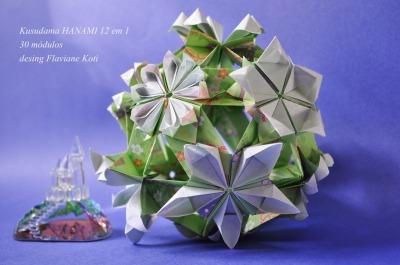 30 módulos, 12 flores diferentes, papel 1:3