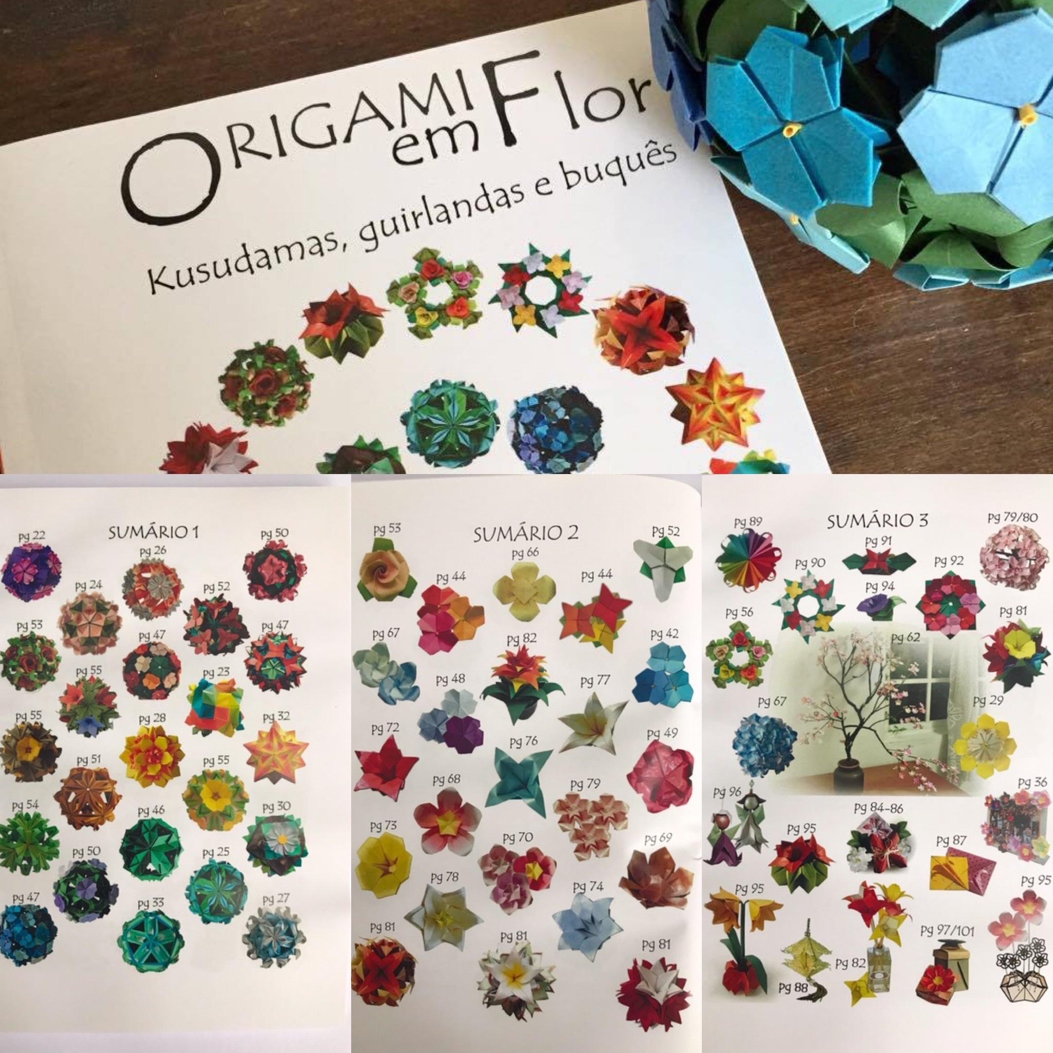 livro de origami, flores, kusudamas, origami modular, decoração, utilitários, guirlandas, arranjos florais,  dobradura, diagramas passo a passo