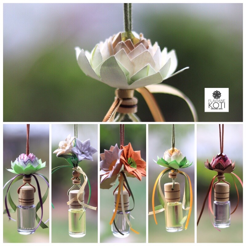 Aromatizadores com óleo de essência concentrada e Origami